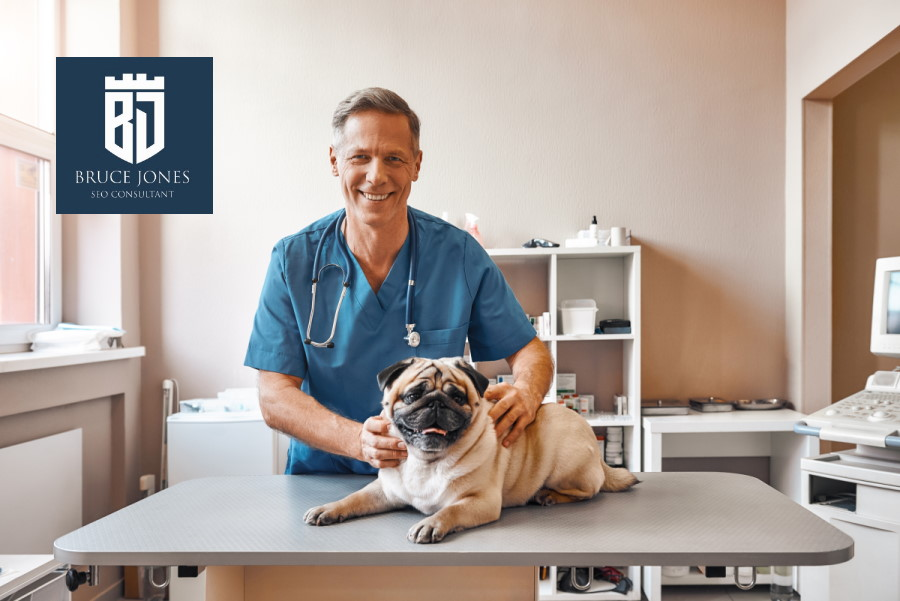 veterinarian at pet clinic with dog